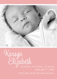 Invitation-Baby Announcement Pink Photo