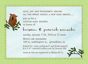 Invitation-Owl Baby Shower