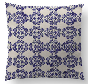 Pillows- Periwinkle and Ivory Frilly Damask II