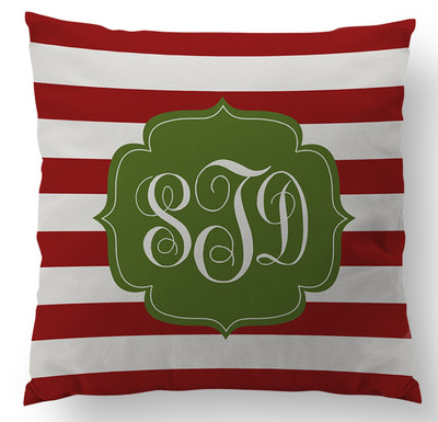 Pillow-Holiday Cranberry Stripe