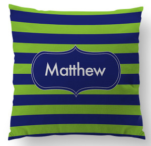 Pillow-Navy and Green Rugby Stripe