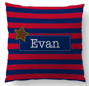 Pillow-Red and Navy Rugby Stripe