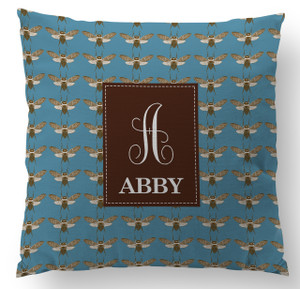 Copy of Pillow- Bees Slate Blue