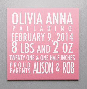 Birth Canvas- Statatics- Pink