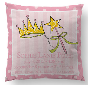 Pillow-Birth Announcement-Princess and Tiara