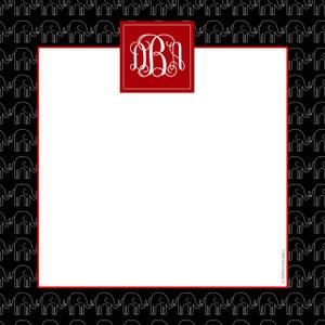 Scribble Square-Black Elephants