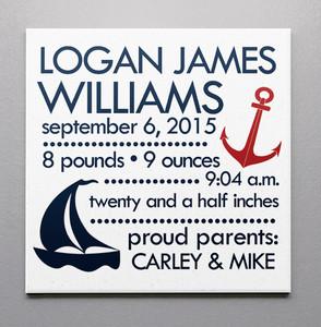 Birth Canvas- The Nautical Baby