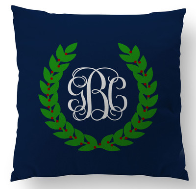 Pillows- Holiday Monogram Navy Crest