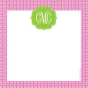 Scribble Square-Hot Pink Greek Key