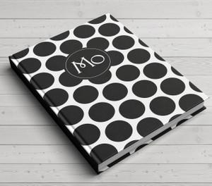 Custom Journal-Black Polka Dot
