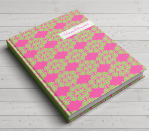 Custom Journal-Pink and Green Frilly Happy Thoughts