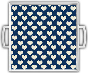 Cocktail Tray - Navy Ivory Hearts Reversed