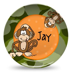 Microwave Safe Dinnerware Plate- Camo Monkey