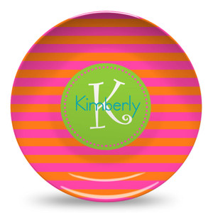 Microwave Safe Dinnerware Plate-Orange and Hot Pink Rugby Stripe