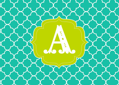 Folded Notes - Turquoise Clover Initial