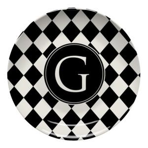 Microwave Safe Dinnerware Plate-Black and Ivory Diamonds
