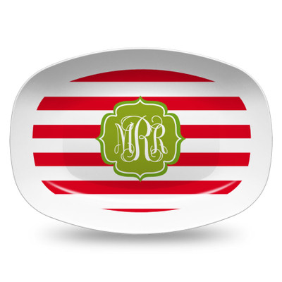 Microwavable Platter- Holiday Stripes