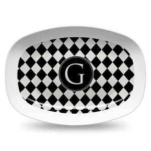 Microwavable Platter- Black and Ivory Diamonds