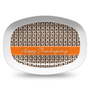 Microwavable Platter- Brown Greek Key