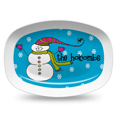 Microwavable Platter- Buttons the Snowman