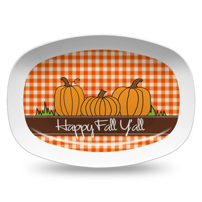 Microwavable Platter- Orange Gingham