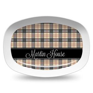 Microwavable Platter- Black and Khaki Plaid