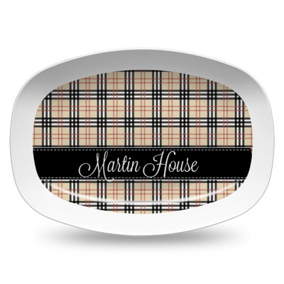 Microwavable Platter- Black and Khaki Plaid