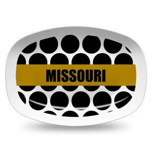 Microwavable Platter- Large Polka Dots-Black
