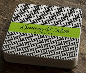 Paper Coaster- Black and Ivory Greek Key
