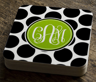 Paper Coaster- Black and White Polka Dots