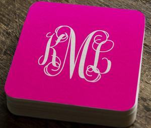 Paper Coaster- Hot Pink Monogram Script