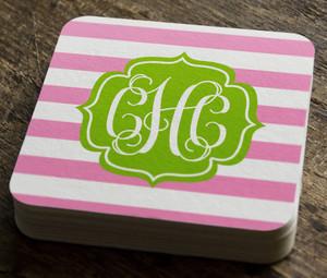 Paper Coaster- Pink Stripes