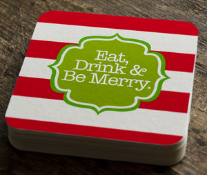 Paper Coaster- Holiday Stripes