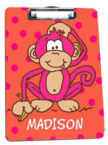 Clipboard- Hot Pink Monkey
