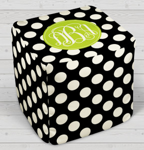 Ottoman-Black and Ivory Polka Dot