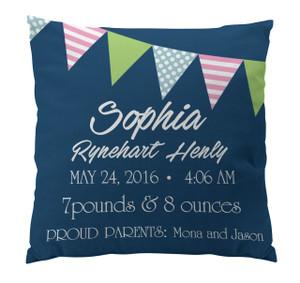 Pillow-Birth Announcement-Banner Girl