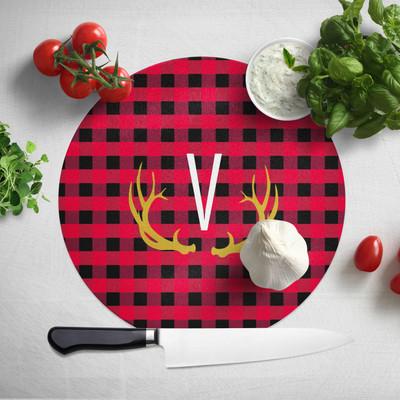 Cutting Board - Buffalo Plaid Red-Round