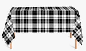 CUSTOM COTTON TABLE CLOTH- Black and White Plaid