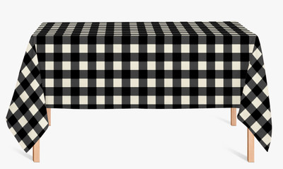 CUSTOM COTTON TABLE CLOTH- Buffalo Plaid Black