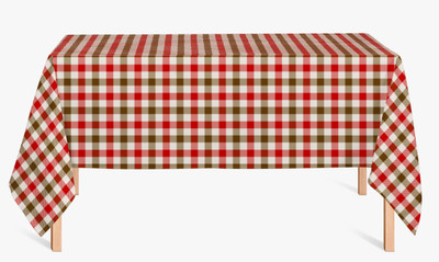 CUSTOM COTTON TABLE CLOTH- Camel and Red Plaid