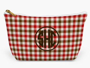 Accessory Zip T-Tote- Camel and Red Plaid