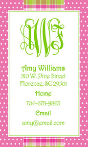 Calling Cards- Hot Pink Plaid