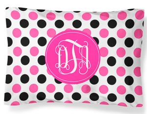 PILLOWCASE-Black and Pink Polka Dots