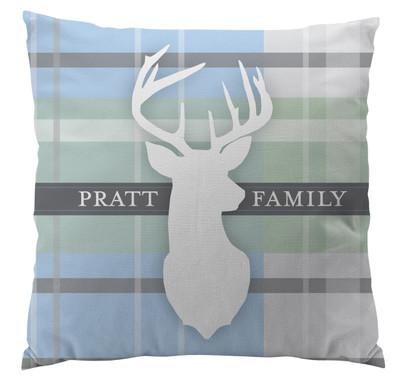 Pillows - Light Blue Plaid Deer