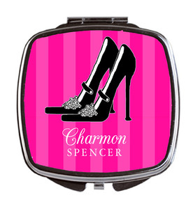 Compact Mirror- Hot Pink Black Ball Shoe