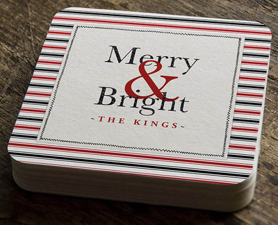 Paper Coaster - Merry & Bright Red and Black