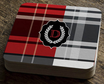 Paper Coaster - Bold Plaid Red