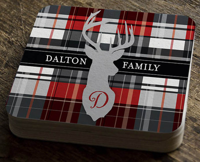 Paper Coaster - Red Plaid with Deer - Small