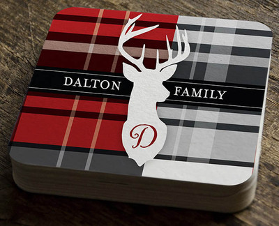 Paper Coaster - Red Plaid with Deer - Large