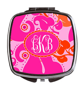 Compact Mirror- Hot Pink Floral